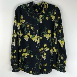 Who What Wear Black Floral Long Sleeve Button Down